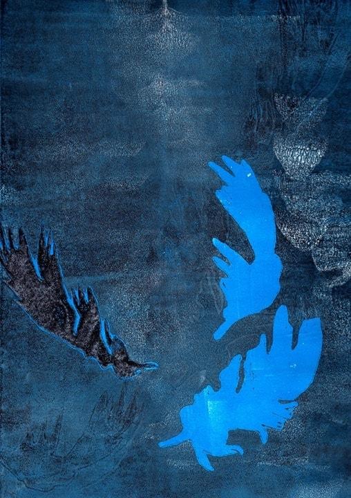 Bild von blauen Federn ausgestellt bei der Veranstaltung Artbox im Sushi Restaurant Sushiya München